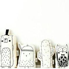 Lijnloves♡ Beer met hoed, Kuikentje met veer, Cactus & Uil met strik knuffels - zeefdruk -