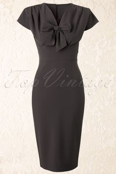 Stop Staring! - 40s Classy Ploma Pencil Dress in Grey