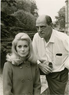 "Catherine Deneuve & Luis Bunuel on the set of ""Belle de Jour"""