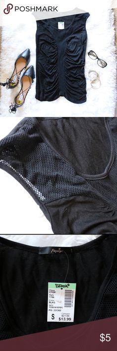 Black Ruched Mesh Top Never worn. Tags attached. Nothing else included. Papaya Clothing Tops Blouses
