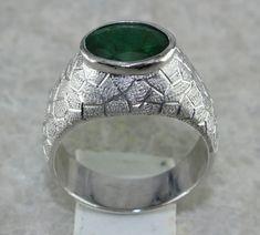 Mens Emerald Ring 503 Carats Emerald Ring Mens Huge Gemstone Emerald Ring in 925 Sterling Silve Mens Emerald Rings, Emerald Gemstone, Gemstone Rings, Emerald Diamond, Etsy Jewelry, Handmade Jewelry, Handmade Gifts, Jewelry Rings, Amethyst Bracelet