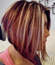Angled bob with blonde highlights, brown and red lowlights...perfect Fall colors