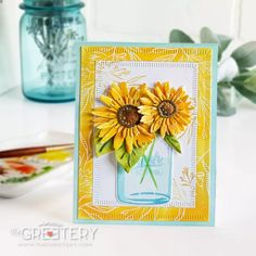 I mentioned in yesterday's post that we will be restocking the store today and also releasing a few new dies! I'm here to showcase these new dies in a few projects for you. Mason Jar Cards, Mason Jars, Sunflower Cards, Lemon Blossoms, String Of Pearls, Little Plants, Scrapbook Paper Crafts, Paper Crafting, Scrapbooking