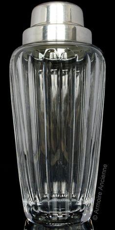 BUY on ETSY: Vintage Crystal Cocktail Shaker, Cut Glass Martini Shaker, Bar Mixer