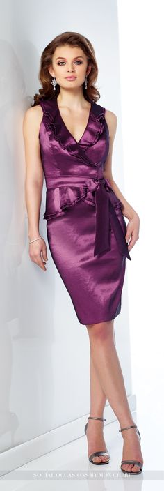 Social Occasions by Mon Cheri - 216869 - Two-piece stretch taffeta dress set, sleeveless knee-length sheath features surplus bodice with ruffle trimmed V-neckline and peplum, detachable sash at natural waist, center back slit. Matching shawl included.  Sizes: 4 - 20  Colors: Dark Teal, Grape, Royal Blue, Black