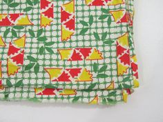 1930s 1940s Feedsack Fabric Red Green Yellow by 4birdsvintage, $18.00
