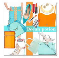 """Ocean potion"" by pureglamchic ❤ liked on Polyvore featuring Moschino, Gianvito Rossi, Sophia Webster, Aevha London, Furla, Oui, Odile!, Fendi, TomTom, Michael Kors and Carven"