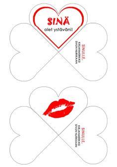 Valentinea ystäville! Kirjanmerkki, printti A4lle