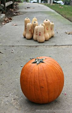 Minute to Win It Game = Pumpkin Bowling  - Collecting up my prior pins here for re-casting on new boards.