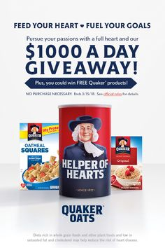 Quaker is giving away $1000 a day to Feed Your Heart and fuel your goals. Enter today for your chance to win!