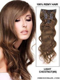 """18"""" 7 Piece Deluxe Set Body Wave Clip In Indian Remy Human Hair Extension - Light Chestnut(#8)"""