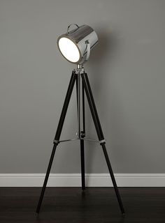 Cody Camera floor lamp - contemporary - floor lamps - Home, Lighting & Furniture- BHS Wooden Tripod Floor Lamp, Diy Floor Lamp, Large Floor Lamp, Black Floor Lamp, Living Room Lighting Design, Lounge Lighting, Home Lighting, Lighting Ideas, Contemporary Floor Lamps