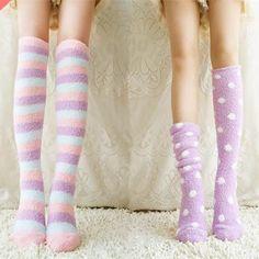 Pastel Kawaii Coral Fleece Knee Socks SP164902