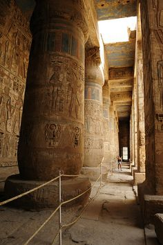 Djamet, Habu Luxor, Egypt (How tiny the human looks).  Built more than a millennium(!) before the time of Jesus, it is considered holy ground and believed to be where the Ogdoad, the primeval gods, were buried.