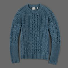 Camel Hair Cable Crew in Azure Blue by Billy Reid. from http://www.millmercantile.com/