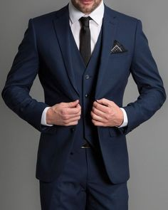 Navy blue formal wedding men suits 2019 new three piece notched lapel custom made business groom wedding tuxedos jacket + pants + vest slim fit two tone light blue suit blazer Dark Blue Suit, Blue Suit Men, Blue Suits, Dark Blue Wedding Suit, Blue Prom Tux, Mens Dark Navy Suit, Navy Prom Suit, Black Tux, Tuxedo Wedding