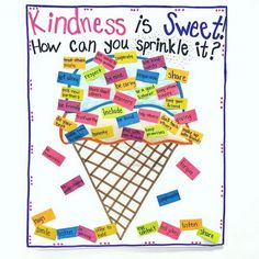 We are sprinkling kindness all over on this Friyay 🎉 ! We have a new student in our class and remembering how to spread kindness was a lesson we needed to revisit. It's amazing how sweet students can be after little reminders like this! Teaching Kindness, Kindness Activities, Preschool Friendship Activities, Anti Bullying Activities, Emotions Preschool, Social Skills Activities, Kindness Bulletin Board, Bulletin Boards, Beginning Of School