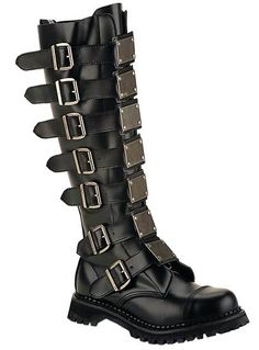 Demonia - Reaper 30 - Knee Boots w/Buckles & Metal Plates [Reaper-30] - £174.99 : Gothic Clothing, Gothic Boots & Gothic Jewellery. New Rock Boots, goth clothing & goth jewellery. Goth boots and alternative clothing