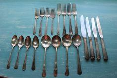 Full Set No. 4 of vintage silver plate flatware. Set contains flatware for 4, including teaspoons, table spoons, salad forks, dinner forks,
