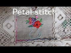 *자수클래식* Petal stitch(페탈스티치) 자수기법 독학으로배우기 - YouTube