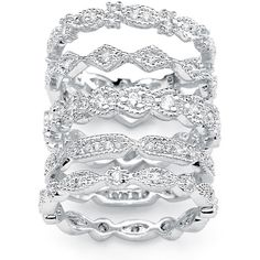 Palm Beach Jewelry PalmBeach 5 Piece 1.55 TCW Round Cubic Zirconia... ($43) ❤ liked on Polyvore featuring jewelry, rings, zirconia rings, cz eternity ring, clear rings, clear crystal ring and cz eternity band ring