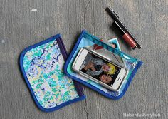 DIY... Make A Vinyl and Fabric Cosmetic Pouch. Perfect for the pool, beach or pop in your handbag for anything.