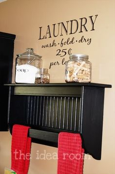 laundry detergent, change jar, pins for hanging. deff need a change jar Laundry In Bathroom, Laundry Decor, Laundry Rooms, Bathroom Rack, Change Jar, Laundry Room Inspiration, Laundry Signs, Plate Racks, Reno