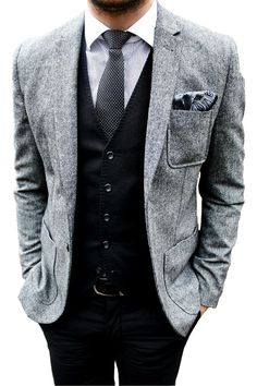 866cf66f4c1 grey on black Grey Tweed Wedding Suit