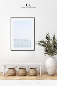 Minimalist nautical art print in shades of white and blue. Prints are available framed and unframed.  I captured this quiet moment amid the glitz and glamour of the Côte d'Azur early on a calm summer morning. Coastal Wall Decor, Beach House Decor, Home Decor, Hamptons Style Decor, Blue Prints, Nautical Art, House Art, Sailing, Fine Art Prints