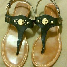 Sandals with gold accents Wedge sandal worn twice and very comfortable, small scrapes on right back of heel Tommy Hilfiger Shoes Sandals