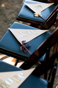 kraft paper flags to wave after the wedding ceremony