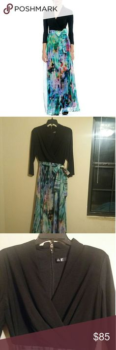 3/4 sleeve Maxi dress Excellent condition! Worn once Leslie Fay Dresses Maxi