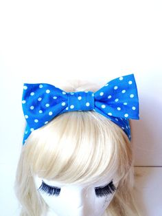Handmade Lovely Bow Kids Head Band Retro Swiss Dot Bright Blue Kawaii :) Stretch Comfortable Cute Girl fashion by Love Factory on Etsy, $13.00