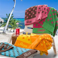 LOVE these bright colors and that they're huge towels so they'll actually fit a whole chair while you're laying out! They're the Oversized Polka Dot Beach Towels from PMall - you can have them embroidered with any name!