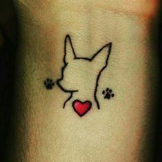 Tatuagem original que fiz pra minha esposa Edileia Mini Tattoos, Small Dog Tattoos, Cat And Dog Tattoo, Cute Tiny Tattoos, Head Tattoos, Feather Tattoos, Beautiful Tattoos, Body Art Tattoos, Chihuahua Tattoo