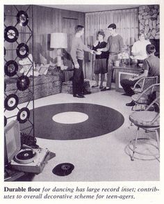 Record floor insert and record room divider David Hicks, Alexander Girard, George Nelson, Vintage Records, Vintage Ads, Vintage Homes, Lps, Beatles, Charles Ray Eames