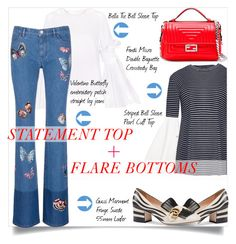 Statement top+Flare jeans by theglossyspace on Polyvore featuring Valentino, Gucci, Fendi, valentino, gucci, pixiemarket and statementtop