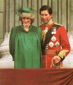 Pregnant with Prince William, Charles and Diana watch Trooping the Color from the balcony of Buckingham Palace in June 1982.