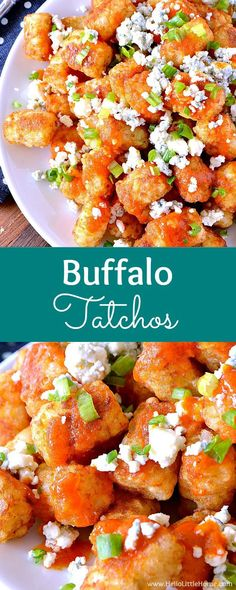 Easy Buffalo Tatchos (Tater Tot Nachos) ... a fun and easy game day recipe! These easy vegetarian tater tot nachos are loaded with a spicy homemade buffalo sauce, creamy blue cheese, and fresh green onions. Makes a great appetizer for game day parties or