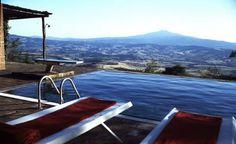 Villa Sarteano, Tuscany - view from pool at dusk