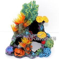 Resin Rockery Seabed Landscape Background Crab Aquarium Dish And Coral