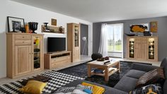Wohnwand mit Highboard Verona Eiche Bianco 20733. Buy now at https://www.moebel-wohnbar.de/wohnwand-mit-highboard-verona-eiche-bianco-20733.html