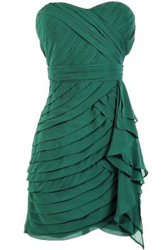 Tiered Strapless Chiffon Designer Dress by Minuet in Hunter Green