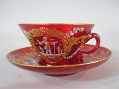 H70-8  FRENCH ART GLASS CUP & SAUCER