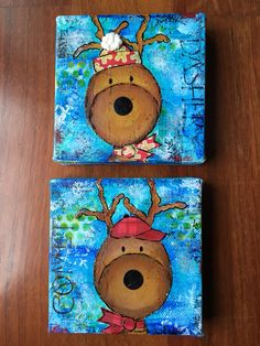 Mini mixed media Christmas canvases. Neo color, paints, papers, stamps