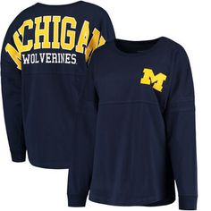 Michigan Wolverines Women's Pom Pom Jersey Long Sleeve Top - Navy