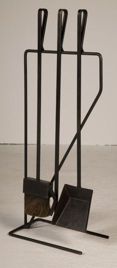 Modernist Wrought Iron Fireplace Tool Set after George Nelson | From a unique collection of antique and modern fireplace tools and chimney pots at https://www.1stdibs.com/furniture/building-garden/fireplace-tools-chimney-pots/