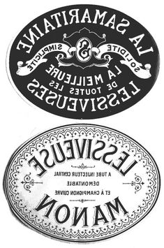 Oval B & W labels.