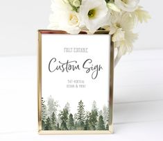 5x7 Custom Sign Template, Rustic Pine Tree Sign, Woodland Shower Sign, Design your own, Editable Instant Download, 100% EDITABLE TEXT, P14 Garden Shower, Sign Templates, Garden Signs, Party Signs, Pine Tree, Printable Invitations, Sign Design, Design Your Own, Woodland