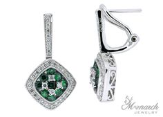 Gregg Ruth collection emerald and diamond pair of earrings; from Monarch Jewelry showroom in Winter Park, Florida. Emerald Wedding Theme, Jewellery Showroom, Emerald Jewelry, Winter Park, Jewelry Branding, Diamond Pendant, Unique Weddings, Silver Color, Florida
